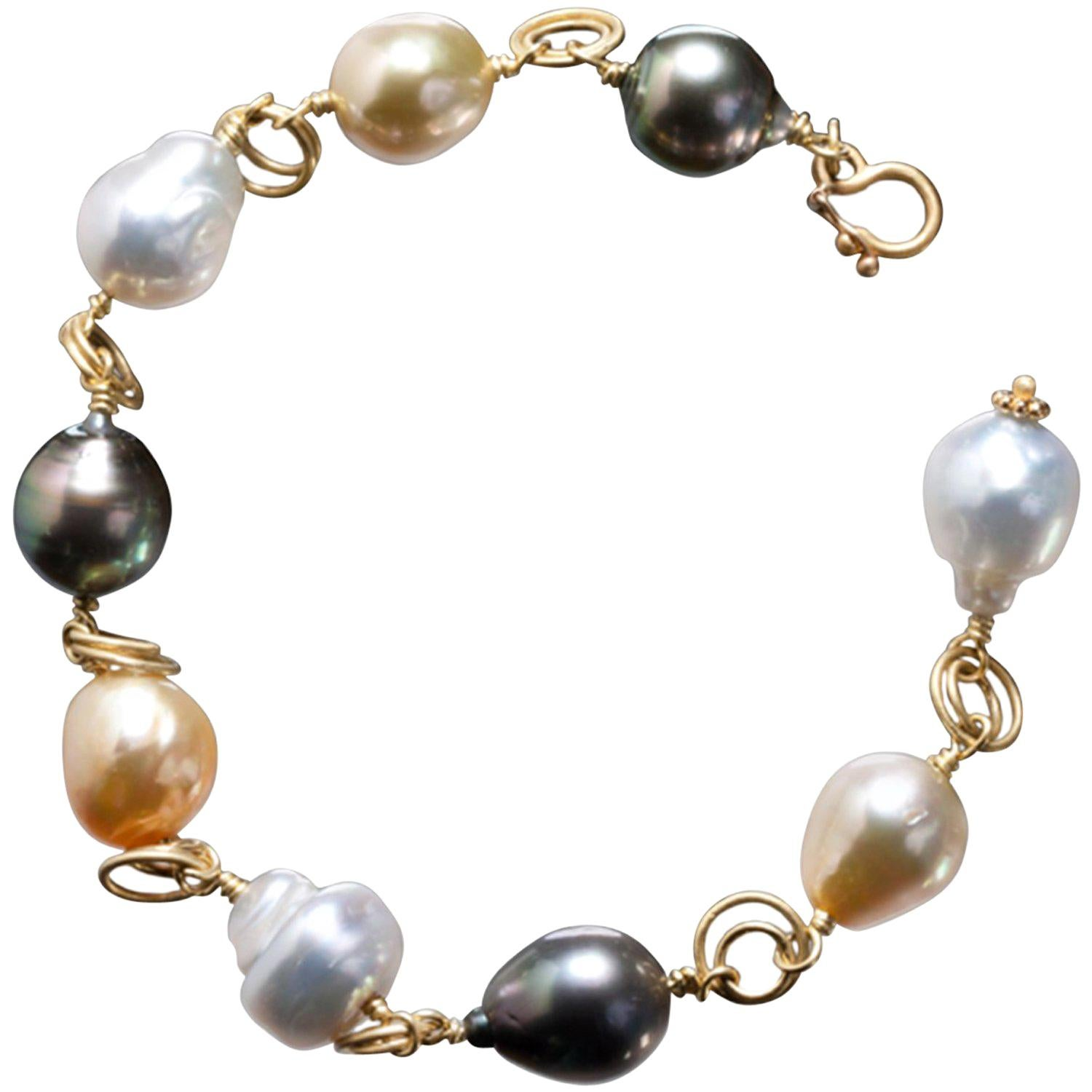 Faye Kim 18 Karat Gold Multi-Color South Sea Pearl Gold Link Bracelet