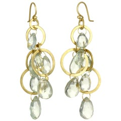 Faye Kim 18 Karat Gold Multi-Loop Briolette Green Amethyst Earrings