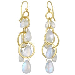 Faye Kim 18 Karat Gold Multi-Loop Moonstone Briolette Earrings