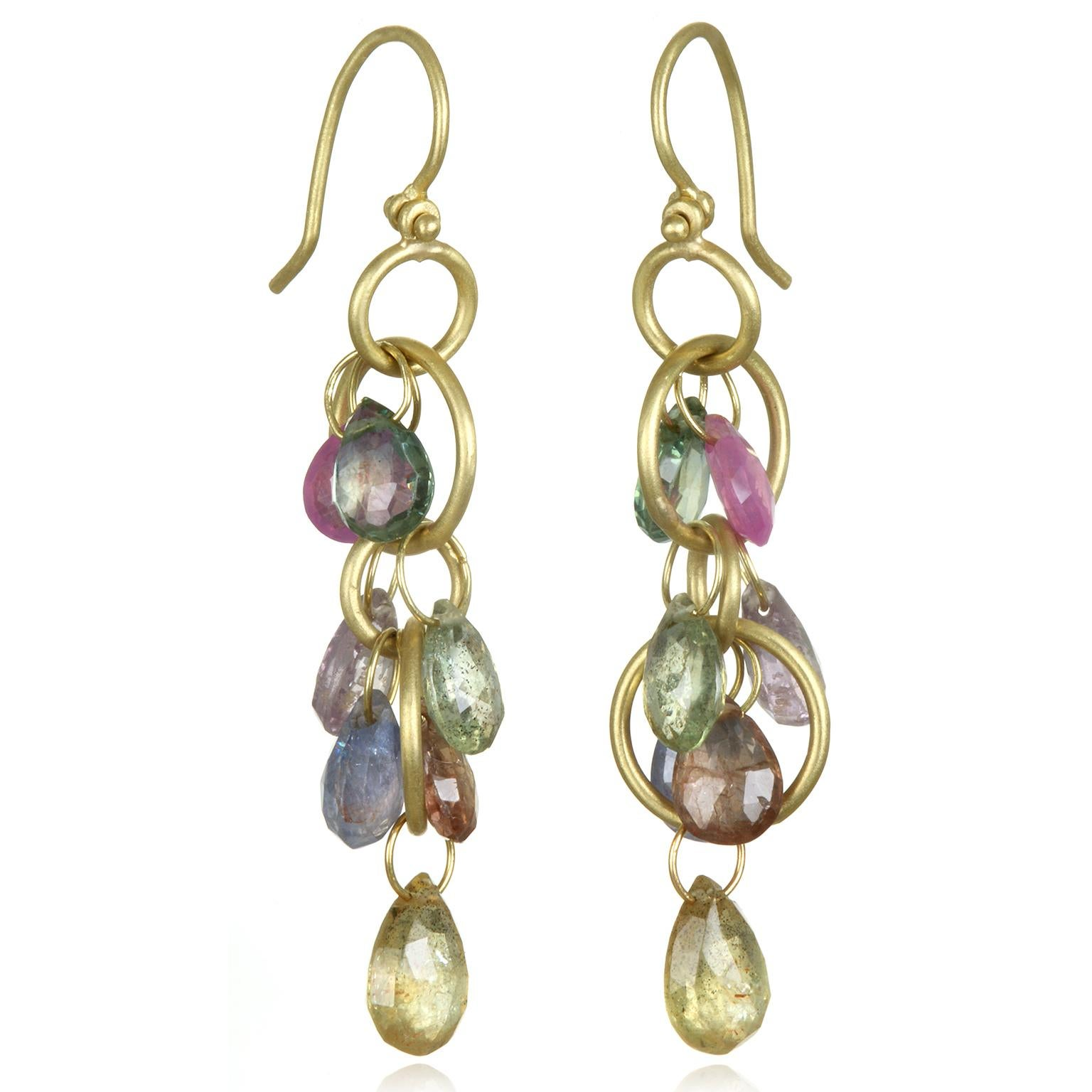 Faye Kim 18 Karat Gold Multi Loop Umba Sapphire Drop Earrings