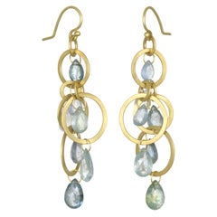 Faye Kim 18 Karat Gold Multi-Loop Umba Sapphire Briolette Drop Earrings