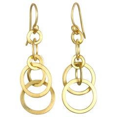 Faye Kim 18 Karat Gold Multi Planished Loop Earrings