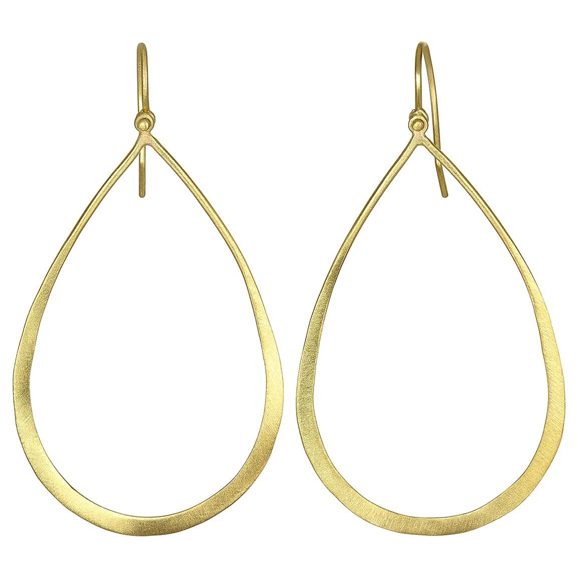 Faye Kim 18 Karat Gold Open Teardrop Earrings