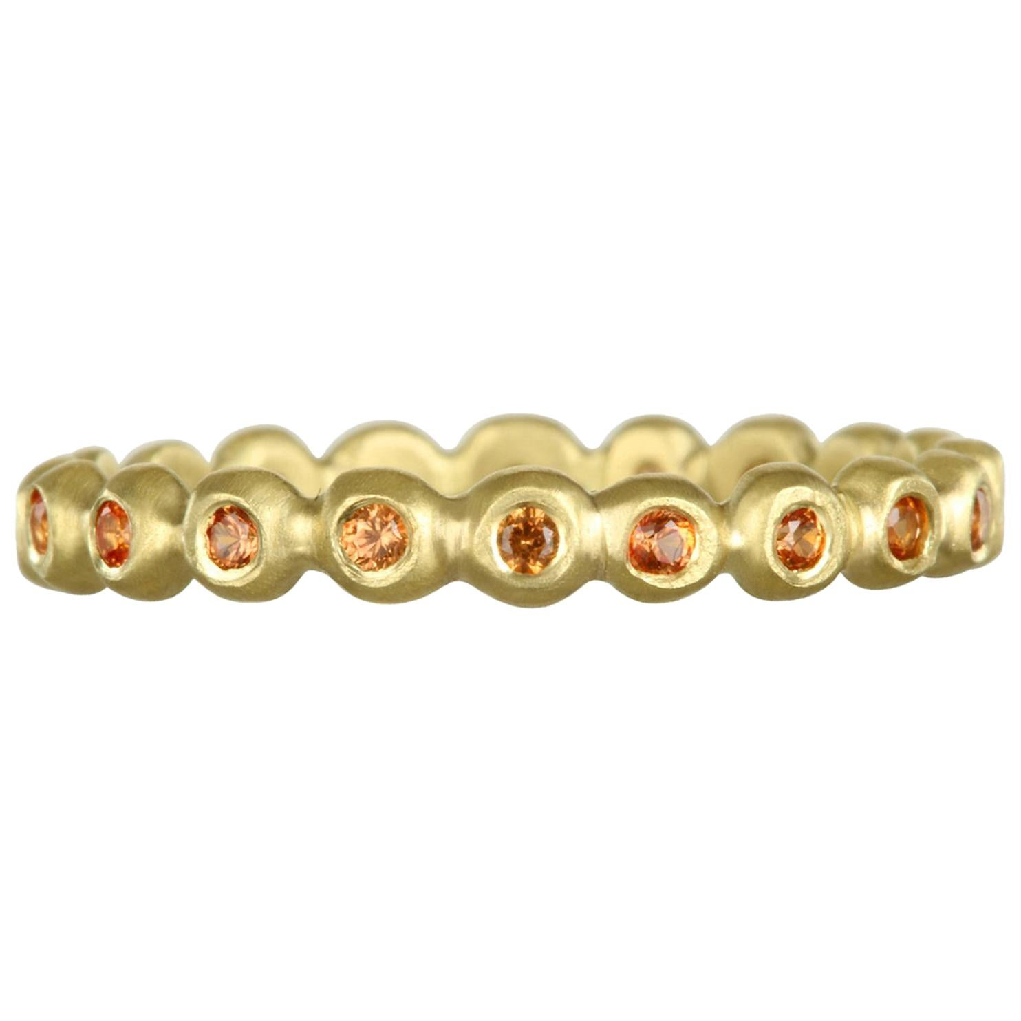 Faye Kim 18 Karat Gold Orange Sapphire Eternity Band Ring