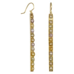 Faye Kim 18 Karat Gold Oval Yellow Raw Diamond Bar Earrings