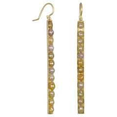 Faye Kim 18 Karat Gold Oval Yellow Raw Diamond Bar Earrings