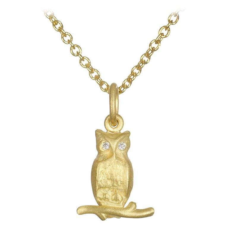 Faye Kim 18 Karat Gold Owl Charm Necklace with Diamond Eyes For Sale