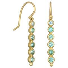 Faye Kim 18 Karat Gold Paraiba Tourmaline and Aquamarine Hinged Earrings