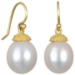 Faye Kim 18 Karat Gold Pearl Drop Earrings with Granulation Cap