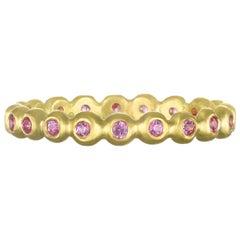 Faye Kim 18 Karat Gold Pink Sapphire Eternity Band Ring