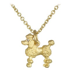 Faye Kim 18 Karat Gold Poodle Charm Necklace with Diamond Eyes