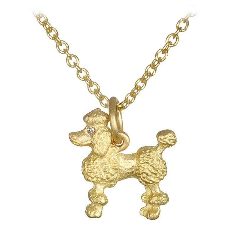 Faye Kim 18 Karat Gold Poodle Charm Necklace with Diamond Eyes For Sale