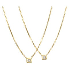 Faye Kim 18 Karat Gold Princess Cut Diamond Solitaire Necklace