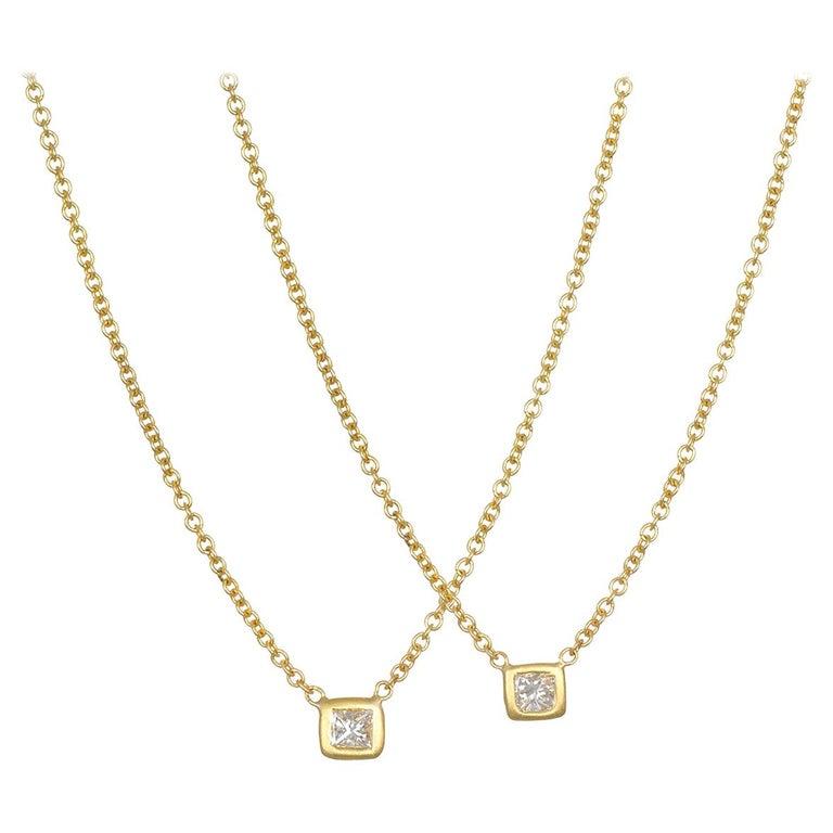 Faye Kim 18 Karat Gold Princess Cut Diamond Solitaire Necklace For Sale