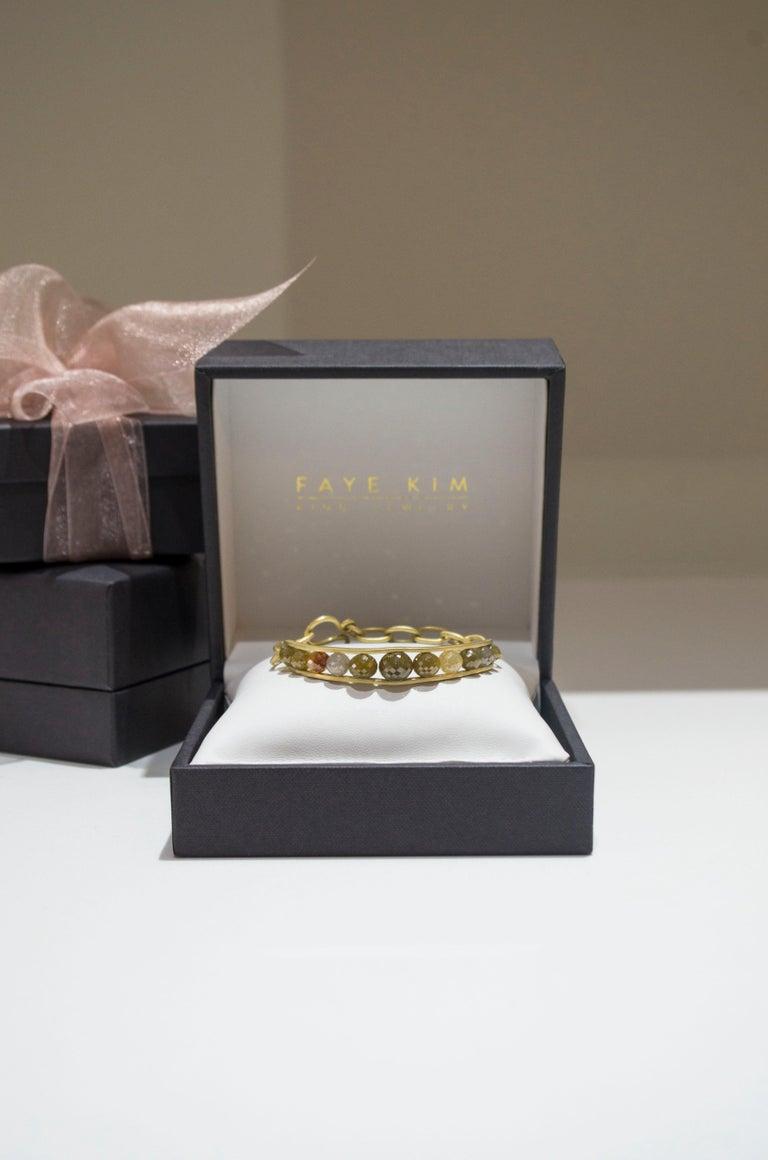Women's or Men's Faye Kim 18 Karat Gold Raw Diamond Bead Cuff Bangle For Sale