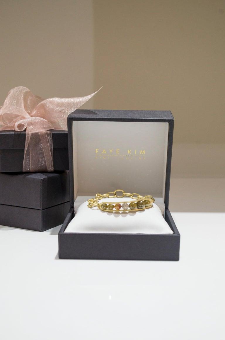 Faye Kim 18 Karat Gold Raw Diamond Bead Cuff Bangle For Sale 1