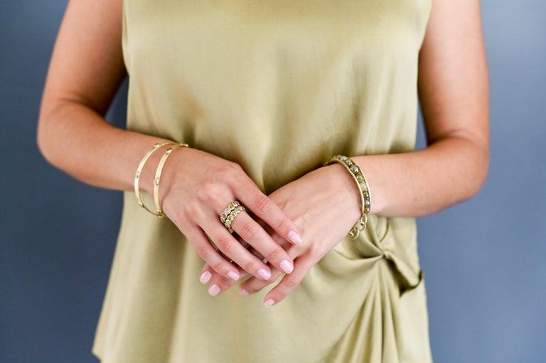 Round Cut Faye Kim 18 Karat Gold Raw Diamond Bead Cuff Bangle For Sale