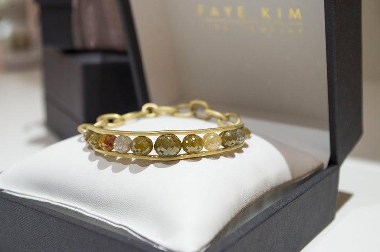 Faye Kim 18 Karat Gold Raw Diamond Bead Cuff Bangle For Sale 2