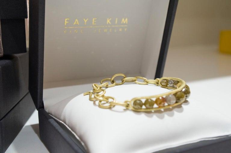 Faye Kim 18 Karat Gold Raw Diamond Bead Cuff Bangle For Sale 3