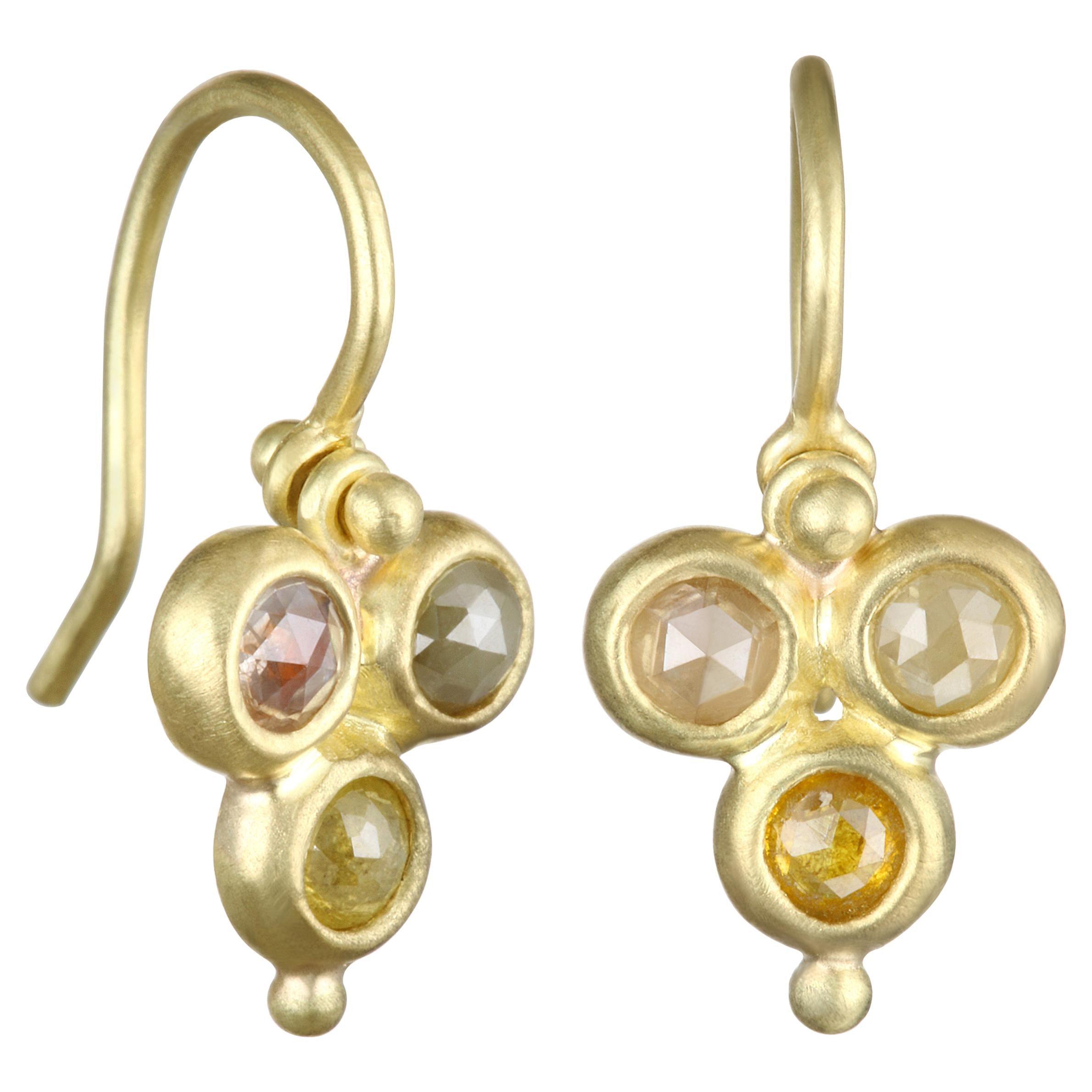 Faye Kim 18 Karat Gold Raw Diamond Drop Earrings