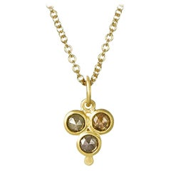 Faye Kim 18 Karat Gold Raw Diamond Pendant on 18 Karat Gold Chain