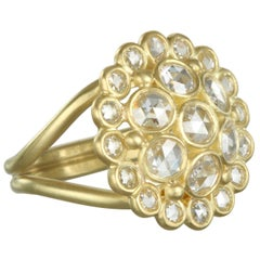 Faye Kim 18 Karat Gold Rose Cut Diamond Dome Ring
