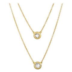 Faye Kim 18 Karat Gold Rose Cut Diamond Necklace