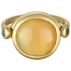Faye Kim 18 Karat Gold Round Mexican Opal Cabochon and Paraiba Tourmaline Ring