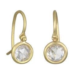Faye Kim 18 Karat Gold Rose Cut Diamond Drop Earrings