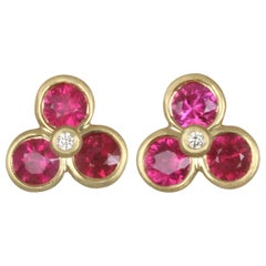 Faye Kim 18 Karat Gold Ruby and Diamond Studs