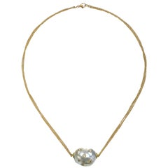 Faye Kim 18 Karat Gold South Sea Pearl and Diamond Necklace