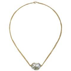 Faye Kim 18 Karat Gold South Sea Pearl and Diamond Necklace