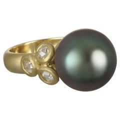 Faye Kim 18 Karat Gold South Sea Tahitian Pearl and Diamond Cocktail Ring