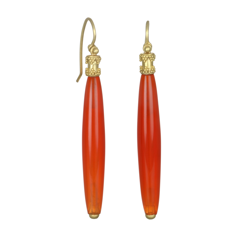 Faye Kim 18 Karat Gold Tapered Hinged Bar Carnelian Earrings