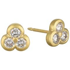 Faye Kim 18 Karat Gold Triple Diamond Stud Earrings