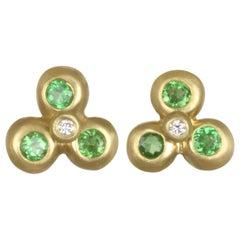 Faye Kim 18 Karat Gold Tsavorite Stud Earrings