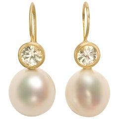 Faye Kim 18 Karat Gold White Sapphire Pearl Drop Earrings