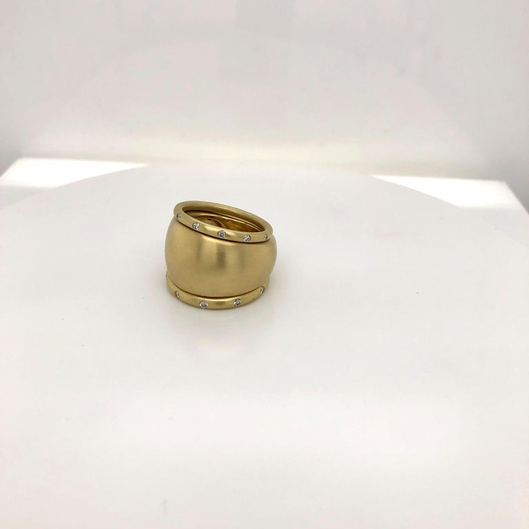 Contemporary Faye Kim 18 Karat Gold Wide Tapered Band Ring For Sale