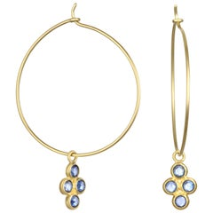 Faye Kim 18 Karat Gold Wire Hoop Earrings with Blue Sapphire Drops