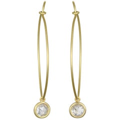 Faye Kim 18 Karat Gold Wire Hoop Earrings with White Sapphire Drops
