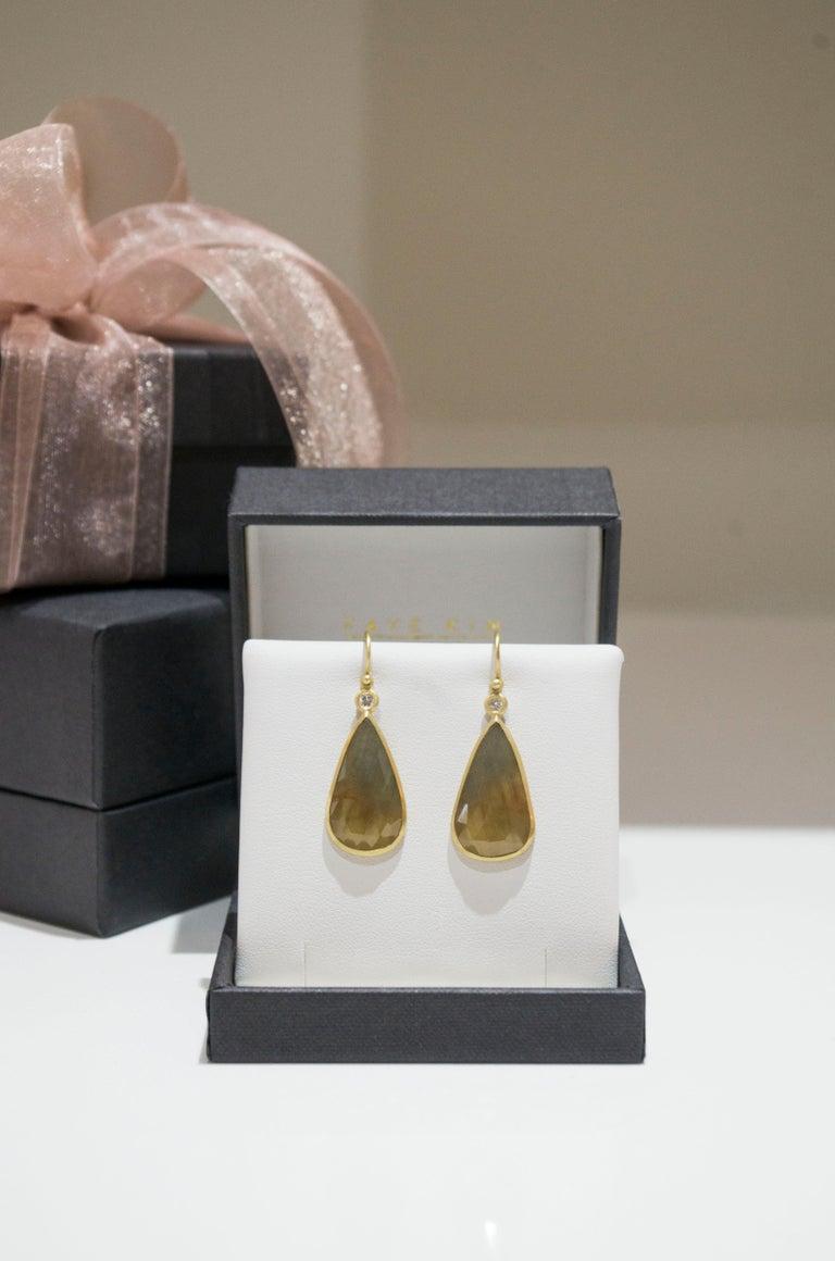 Contemporary Faye Kim 18 Karat Gold Yellow Sapphire and Diamond Bezel Drop Earrings For Sale