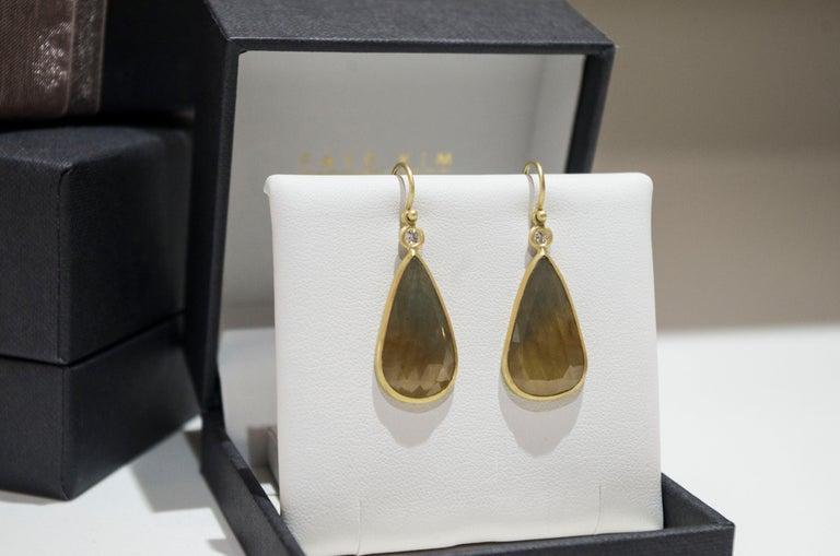 Rose Cut Faye Kim 18 Karat Gold Yellow Sapphire and Diamond Bezel Drop Earrings For Sale