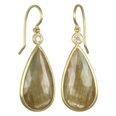 Faye Kim 18 Karat Gold Yellow Sapphire and Diamond Bezel Drop Earrings
