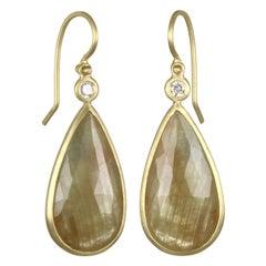 Faye Kim 18 Karat Gold Yellow Sapphire and Diamond Bezel Drop Earrings