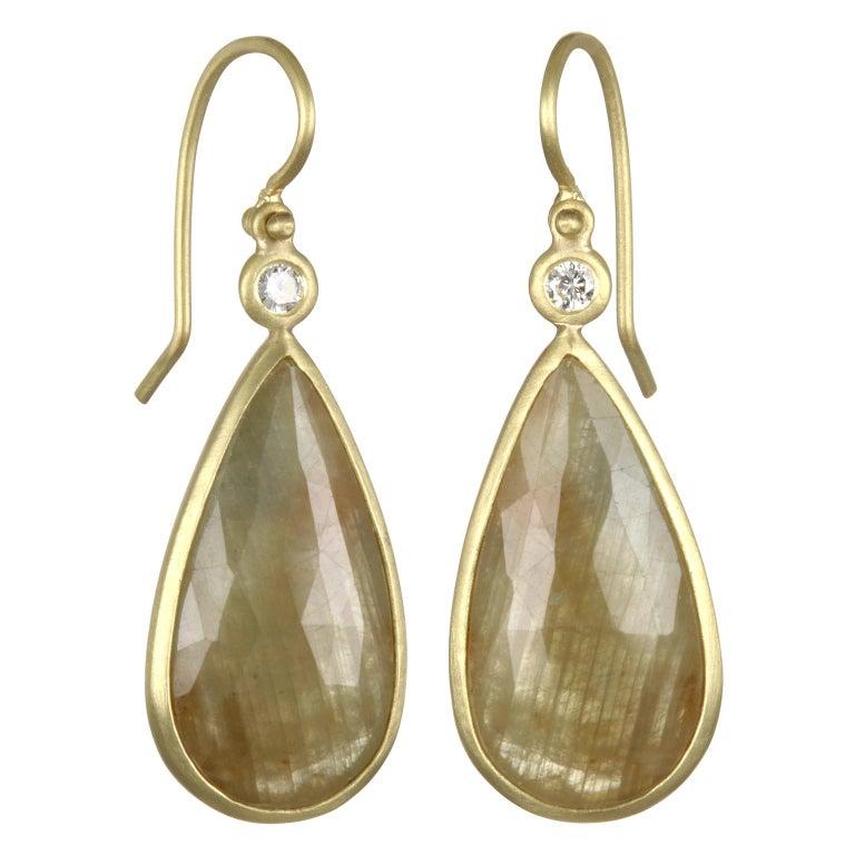 Faye Kim 18 Karat Gold Yellow Sapphire and Diamond Bezel Drop Earrings For Sale