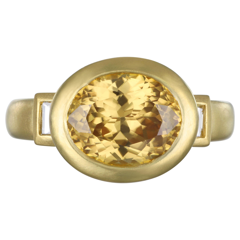 Faye Kim 18 Karat Gold Yellow Zircon Diamond Baguette Ring