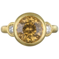 Faye Kim 18 Karat Gold Zircon and Diamond Three-Stone Ring