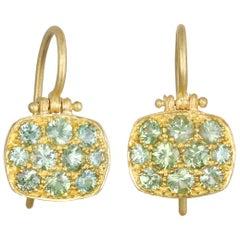 Faye Kim 18 Karat Green Sapphire Chiclet Earrings