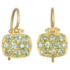 Faye Kim 18 Karat Green Sapphire Chiclet Earrings