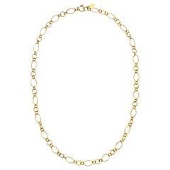 "Faye Kim 18 Karat Gold Handmade Mini Marquise Link Chain 21"""